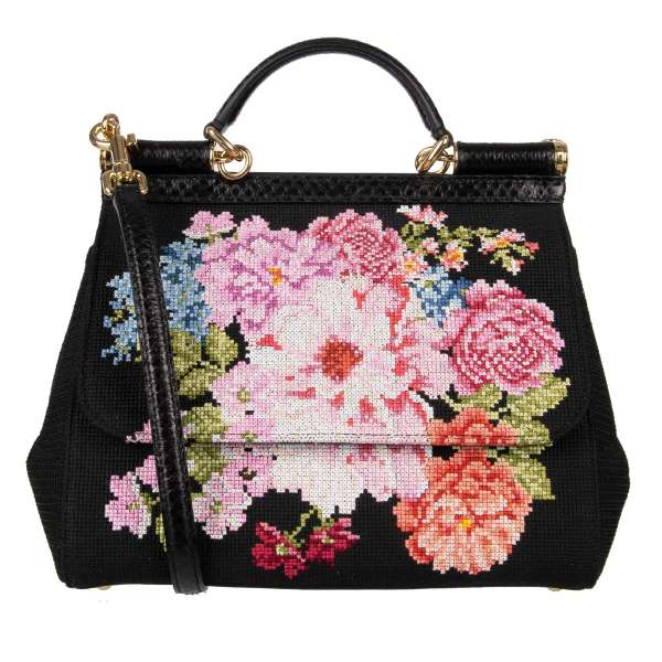 Tote / Shoulder bag SICILY with leather had stitched flowers, ayers snake skin elements and logo plate in gold by DOLCE & GABBANA