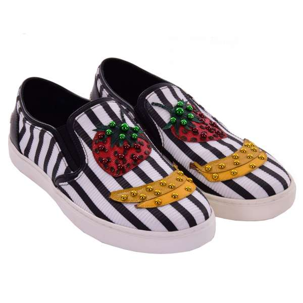 Slip-On Sneaker LONDON with studs, banana, strawberry applications and DG logo in black and white by DOLCE & GABBANA Black Label