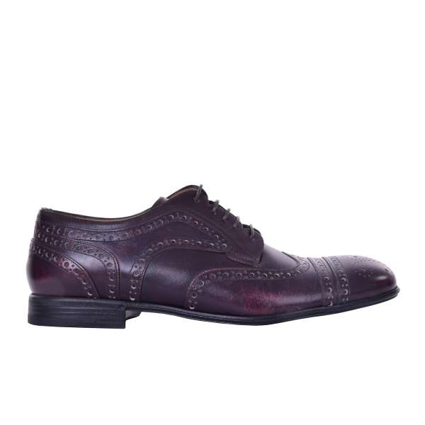 Wingtip brogue derby shoes made of dark purple mat leather by DOLCE & GABBANA Black Label