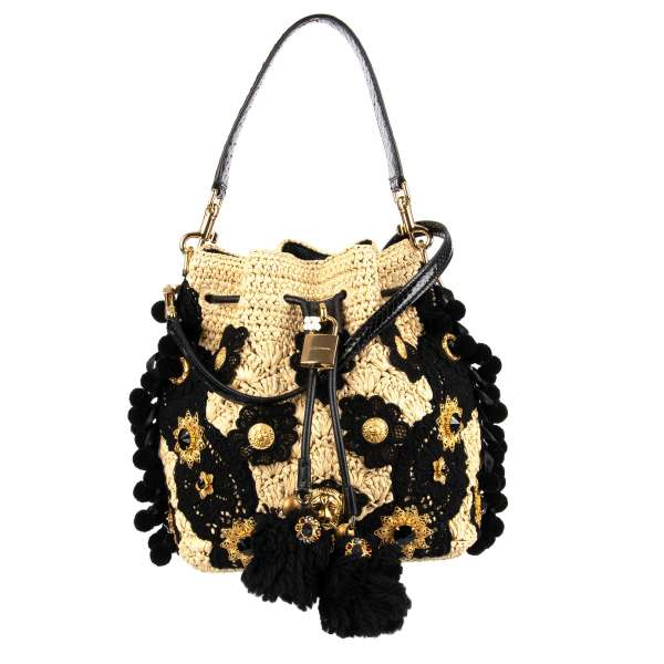 Sicily Style straw and snakeskin bucket hobo bag / shoulder bag CLAUDIA embellished with pompoms, sing-song bells, crystals and enamel flowers by DOLCE & GABBANA
