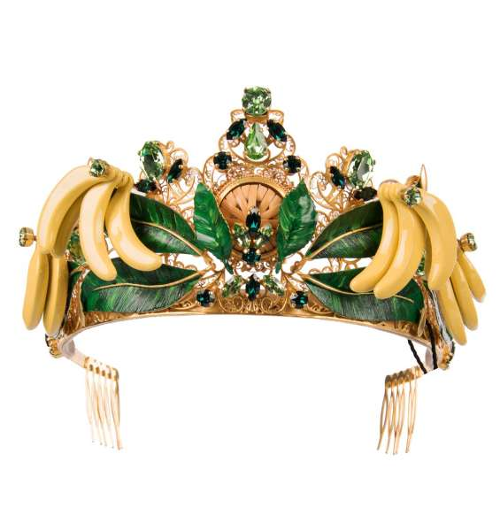 Filigree Tiara Crown with hand painted leaves, banana and crystals in Gold by DOLCE & GABBANA