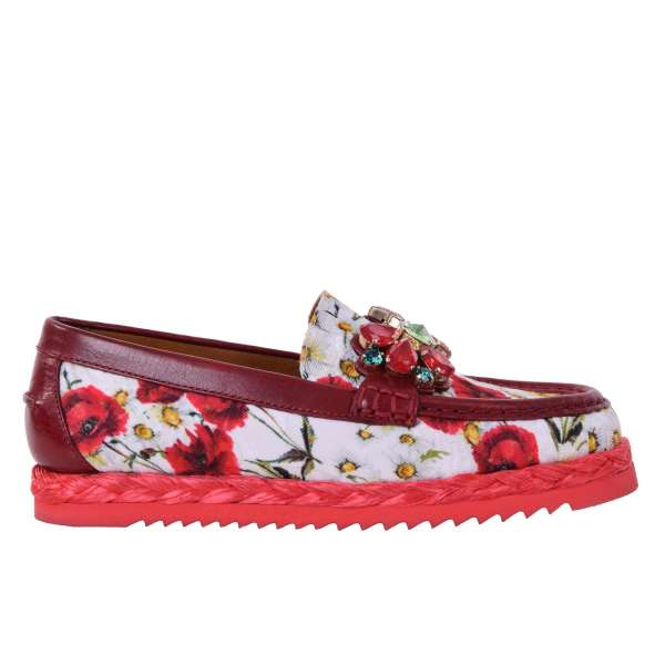 Ladies carnation printed brocade Moccasins embellished with crystals by DOLCE & GABBANA Black Label