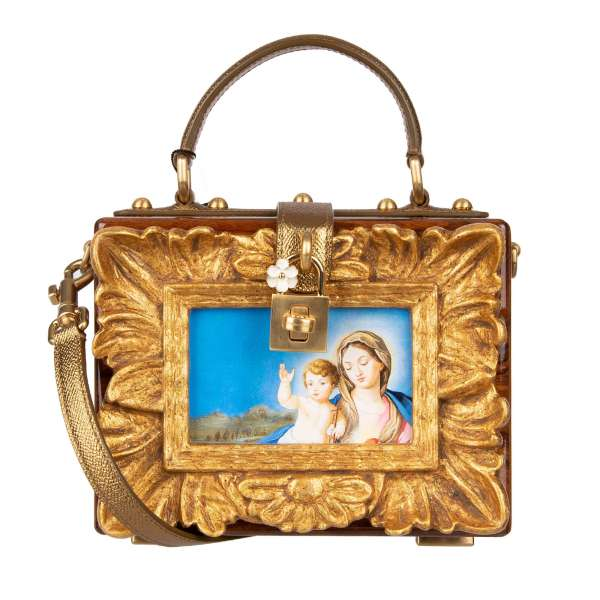 Lacquered wood and resin Baroque bag / shoulder bag / clutch DOLCE BOX with hand painted Maria and Child with cross, padlock with flower in gold by DOLCE & GABBANA