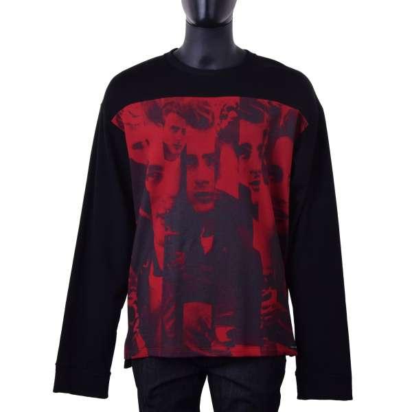 Pullover aus Baumwolle mit James Dean Print in Schwarz und Rot von DOLCE & GABBANA Black Label