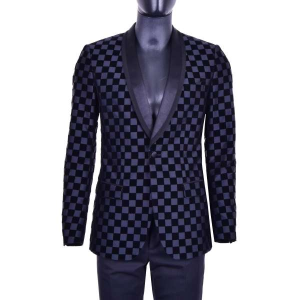 Chessboard design blazer made of velvet and fabric with a velvet reverse by DOLCE & GABBANA Black Label