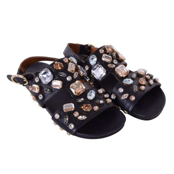 Strap sandals BIANCA made of fine lambskin embellished with crystals by DOLCE & GABBANA Black Label