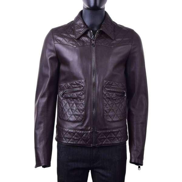 Biker-Jacke aus gestepptem Nappa Lammleder von DOLCE & GABBANA Black Label