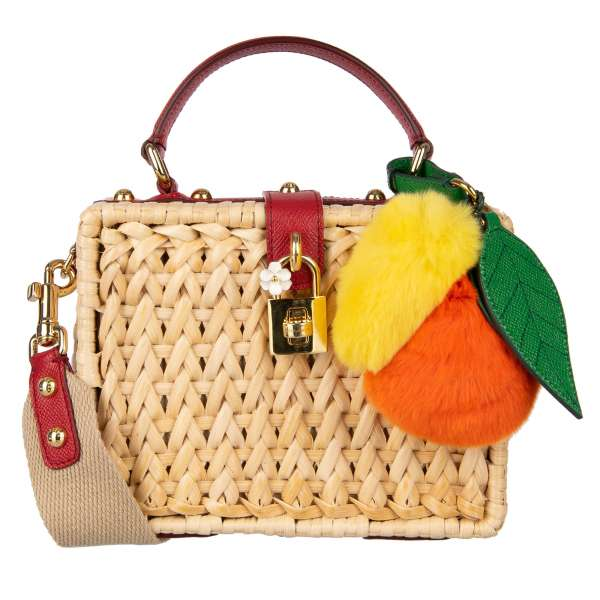 Hand woven Raffia bag / shoulder bag / clutch DOLCE BOX with lemon and orange fur pendant and decorative padlock with flower in beige and red by DOLCE & GABBANA
