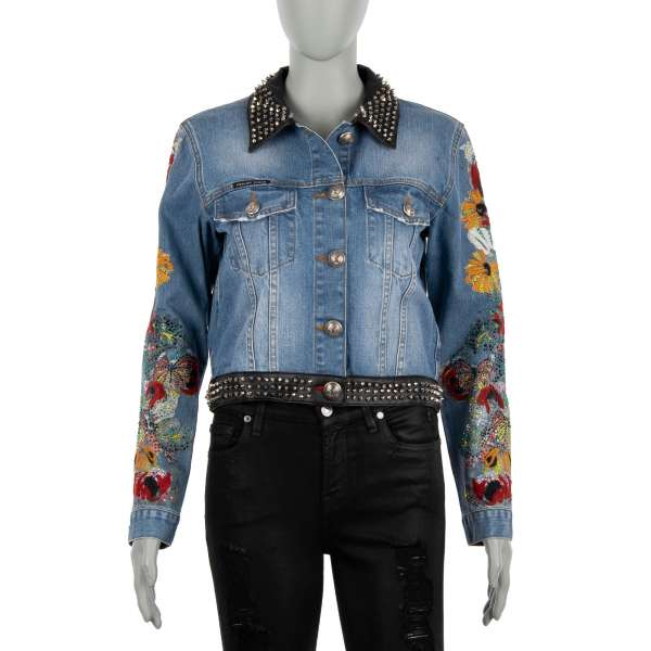 LET IT BE Jeans and Faux Jacket with studded elements, painted and embroidered sleeves covered with crystals in blue by PHILIPP PLEIN COUTURE