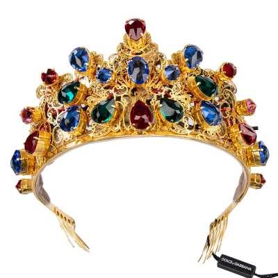 LED Shining Crystals Filigree Tiara Crown Gold