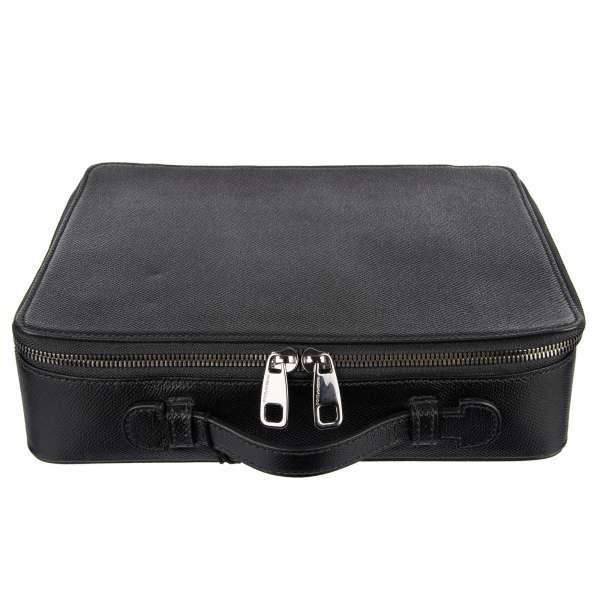 Small unisex dauphine leather briefcase with many pockets and removable separate nappa leather folder by DOLCE & GABBANA