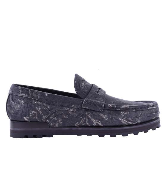 Dauphine leather moccasins GENOVA with keys print and stable rubber sole by DOLCE & GABBANA Black Label