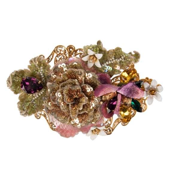 Haarspange mit handbestickten Pailletten und Perlen Blumen, bestickten Blättern und Kristallen in Gold von DOLCE & GABBANA