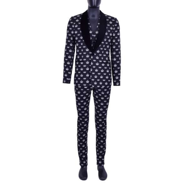 Virgin Wool 3-pieces suit with crown print and round contrast velvet reverse by DOLCE & GABBANA Black Line