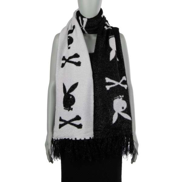 Long bi-color scarf Rock PP with printed Bunny Skull logos and metal logo plaque by PHILIPP PLEIN x PLAYBOY