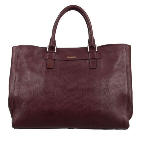 Expandable Tote Bag / Weekender made of palmellato leather with two handles and logo print by DOLCE & GABBANA