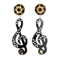 Stelle Music Crystal Earrings Black