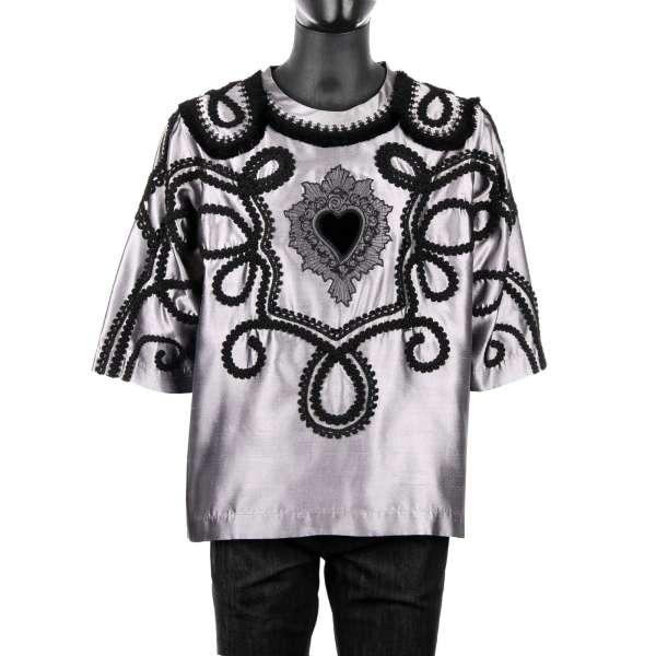 "Embroidered 1/2-sleeves spanisch torero silk shirt ""Sacred Heart"" by DOLCE & GABBANA Black Line"