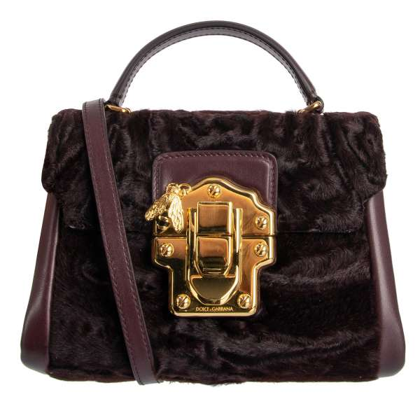 Tote / Shoulder bag LUCIA made of astrakhan fur and nappa leather with bee embellished buckle by DOLCE & GABBANA
