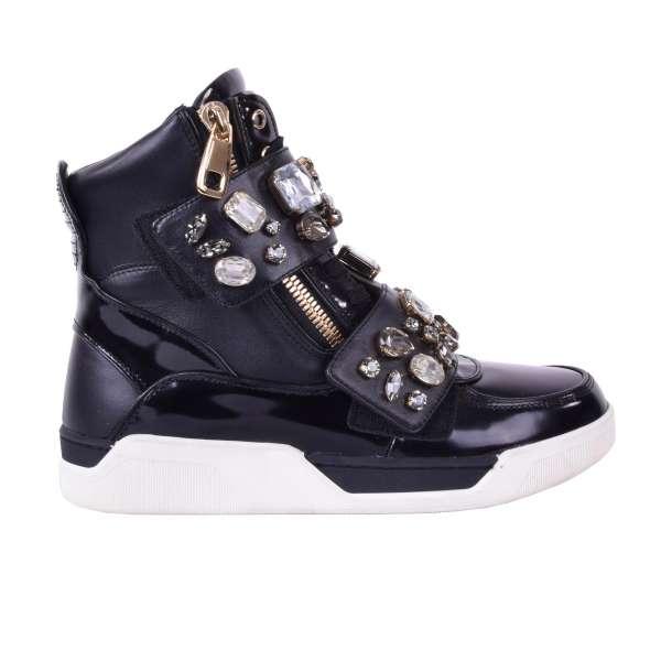 High-Top Sneakers aus Kalbsleder mit zwei Reißverschlüssen und Klettverschluss mit Kristallen von DOLCE & GABBANA Black Label