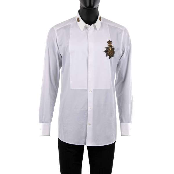 Tuxedo Shirt with short collar, hidden button closure, collar crown patches and embroidered medal with crown by DOLCE & GABBANA - GOLD Line