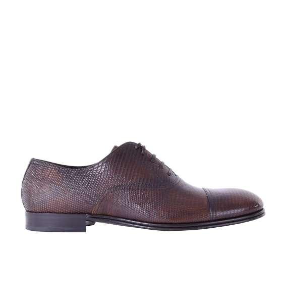 Klassische Oxford Schuhe aus glänzendem Eidechsen-Leder von DOLCE & GABBANA Black Label