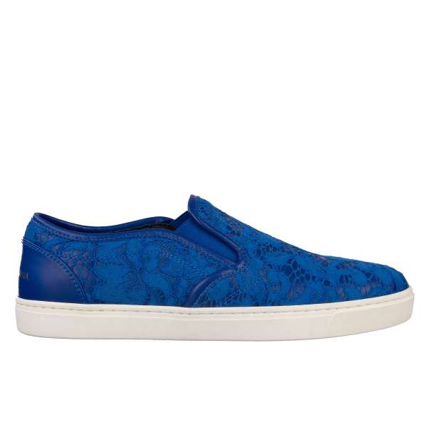 Elastic Slip-On Sneaker LONDON made of leather and lace with printed logo by DOLCE & GABBANA Black Label