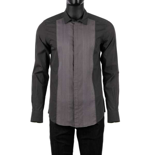 Tuxedo Shirt with placket, contrast color fabric, short collar in gray by DOLCE & GABBANA - SICILIA Line