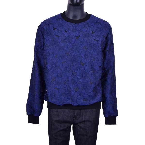 Floral brocade sweater in blue and black by DOLCE & GABBANA Black Line