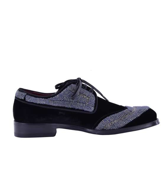 """Derby Schuhe """"Sassari"""" aus besticktem Samt von DOLCE & GABBANA Black Label"""