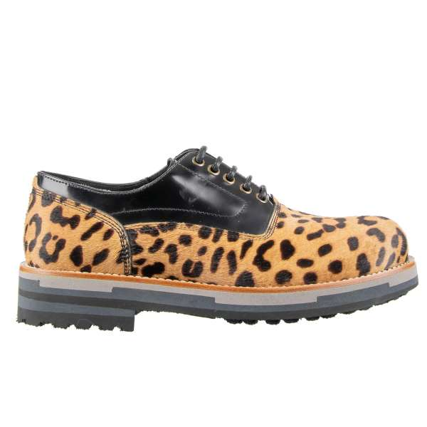 Stable fur and patent leather derby shoes BAGHERIA in Leopard Print and Black with a massive sole by DOLCE & GABBANA