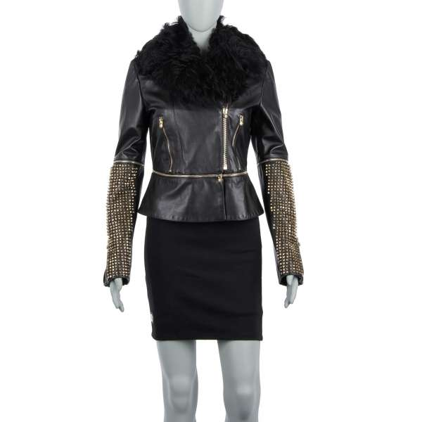 Leather Jacket / Blazer with studded collar in gold and black by PHILIPP PLEIN COUTURE