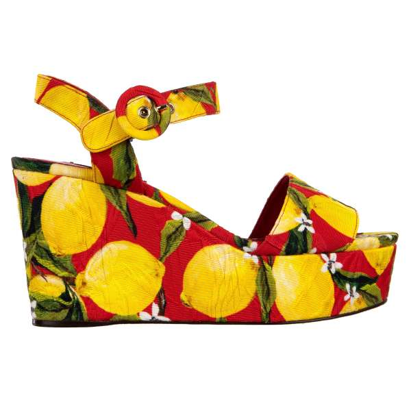 BIANCA Plateau Brocade Sandals with lemon print in red, green and yellow by DOLCE & GABBANA Black Label