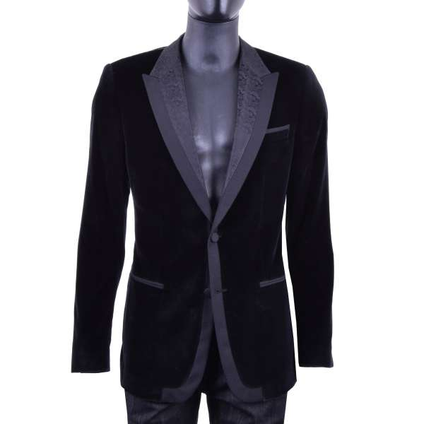 Velvet Baroque Style Tuxedo Blazer with a textured contrast lapel by DOLCE & GABBANA Black Label