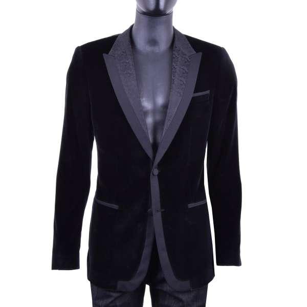 Smoking Blazer im Barock-Stil aus Samt mit gemustertem Kontrast-Revers von DOLCE & GABBANA Black Label