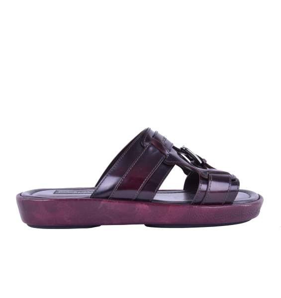 Patent leather sandals MEDITERRANEO with printed logo and buckle by DOLCE & GABBANA Black Label
