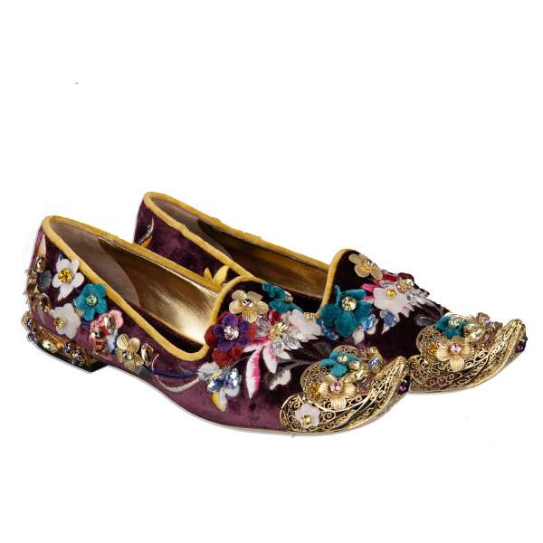 Baroque Velvet Loafers JASMINE with gold metal embellishments, floral embroidery and crystals by DOLCE & GABBANA Black Label
