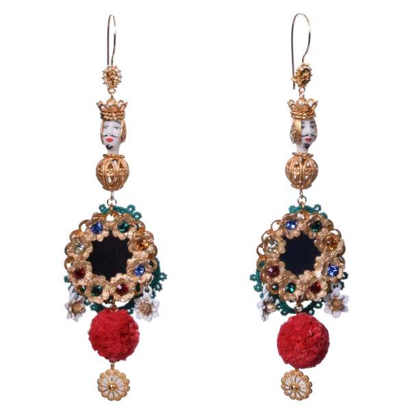 """""""Sicilia"""" Testa di Moro Earrings with Strass, Mirror and Flowers in Gold by DOLCE & GABBANA"""