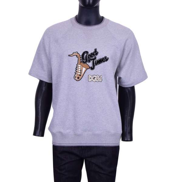 """Short Sleeves Sweater / Sweatshirt """"GOOD TIMES"""" with embroidered Trumpet at front and embroidered inscription DGFAMILY at the back by DOLCE & GABBANA Black Line"""