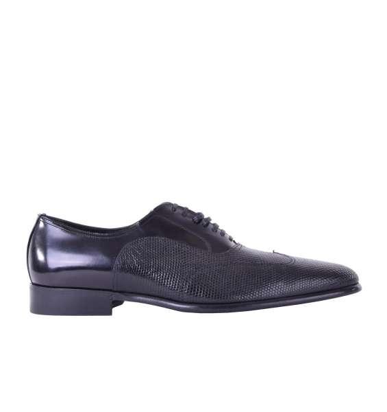 Business Oxford Schuhe aus Leguan- und Kalbsleder von DOLCE & GABBANA Black Label