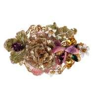 Baroque Flower Crystals Hair Clip Gold
