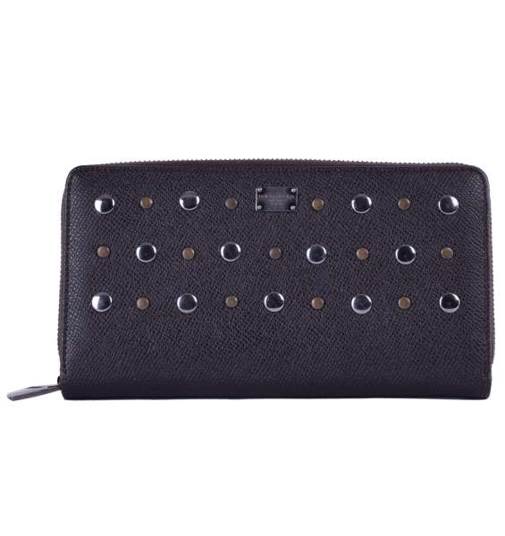 Unisex long zip-around dauphine leather wallet embellished with studs and logo detail by DOLCE & GABBANA Black Label