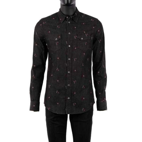 Jeans / Denim Hemd mit Blumen Stickerei, Druckknöpfen und zwei Taschen vorne in Grau von DOLCE & GABBANA - SICILIA Line