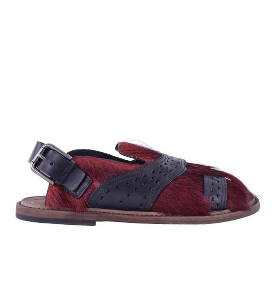 Gazelle fur and calfskin sandals VESUVIO by DOLCE & GABBANA Black Label