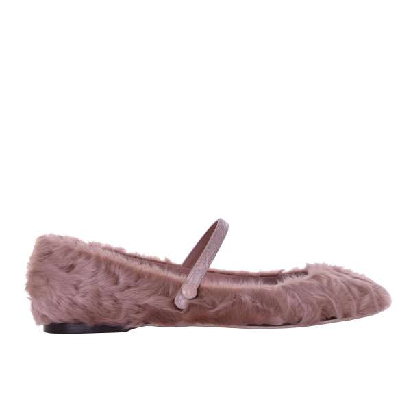 Astrakhan fur and crocodile leather ballet flats in beige by DOLCE & GABBANA Black Label