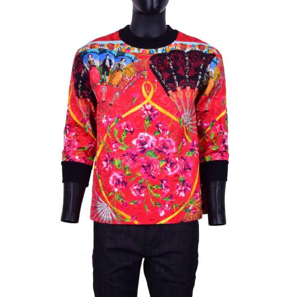 3/4-Ärmel Sweater aus Brokat im spanischen Stil mit Nelken Print von DOLCE & GABBANA Black Label