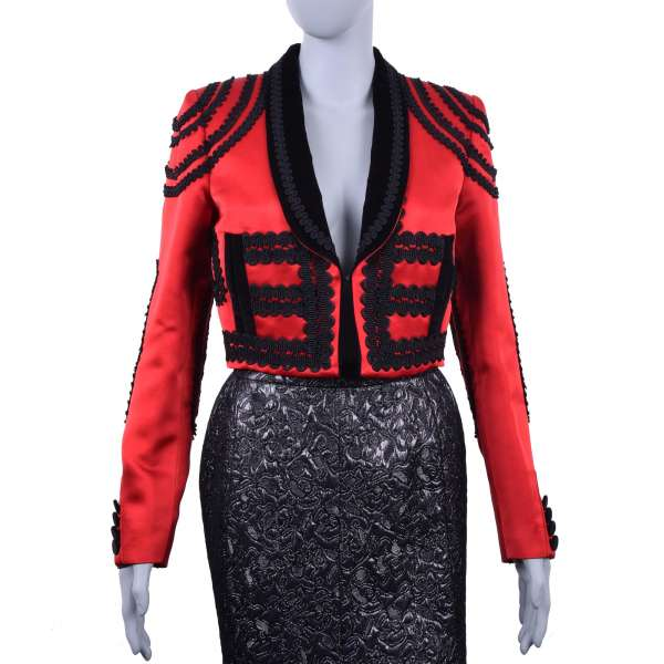 Embroidered spanisch torero style jacket / blazer made of silk and velour by DOLCE & GABBANA Black Line