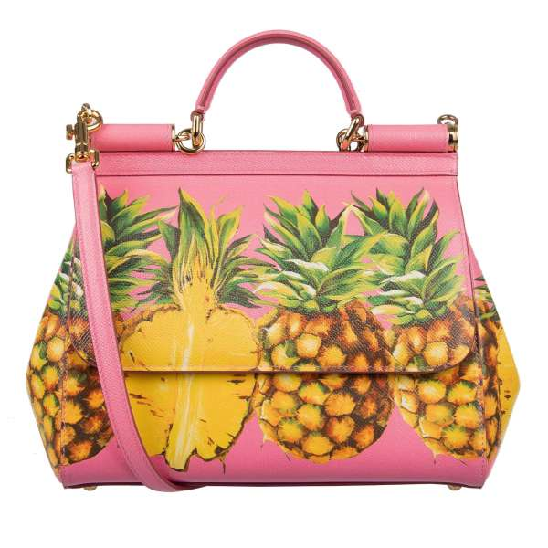 Dauphine Leather Tote / Shoulder Bag SICILY with large printed Pineapples and metal logo plate by DOLCE & GABBANA