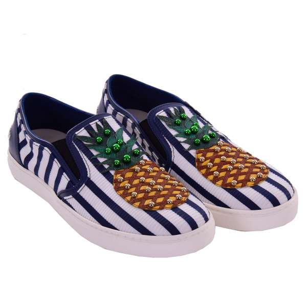 Slip-On Sneaker LONDON with studs pineapple application and DG logo in blue and white by DOLCE & GABBANA Black Label