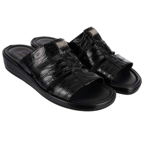 Crocodile (Caiman) and Calf Leather Sandals MEDITERRANEO with Metal Logo Plaque by DOLCE & GABBANA